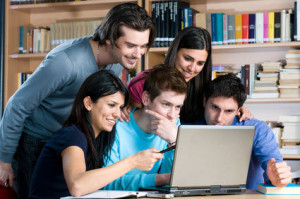 Studying at laptop